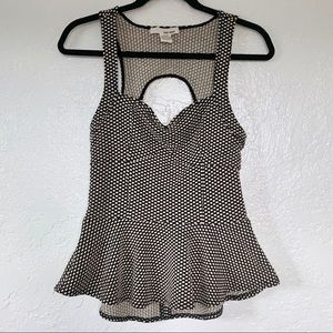 Sans Souci Peplum Polka Dot Top w/ Cut Out Back